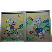 1940s Pair Walt Disney Co. Donald Duck Framed Artwork Prints