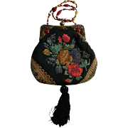 Mary Frances Vintage Beaded Floral Tapestry Black Tassel Rhinestone Evening Handbag Purse with Faux Jade Carnelian and Turquoise Strap Victorian Style