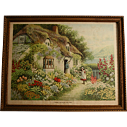 """There's No Place Like Home"" 1920s Print by J R Thronton in Original Wood Frame"