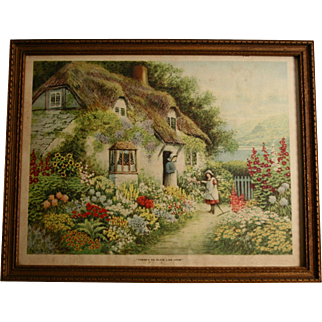 """""""There's No Place Like Home"""" 1920s Print by J R Thronton in Original Wood Frame"""