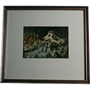 "1967 Marc Chagall Lithograph ""La Guerre"" Maeght Editeur NYC Framing"