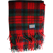 Beautiful Pendleton Wool Blanket Red Green Blue Plaid Tartan Fringe Lovely Condition Large Camping Stadium 100% Virgin Wool Portland Oregon