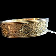 Victorian Winard 12K Gold Filled Bangle Clamper Cuff Bracelet With Black Enamel Design