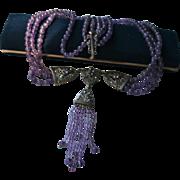 Sterling Amethyst Marcasite Triple Strand Festoon Draping Dangling Bib Lavaliere Necklace