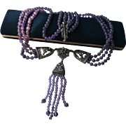Sterling Amethyst Marcasite Triple Strand Festoon Draping Gangling Bib Lavaliere Necklace