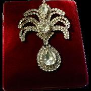 "Rare Weiss Signed Large Fleur de Lis Rhinestone Brooch 3"" inch"