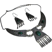 Stunning Sterling Malachite Draping Bib Festoon Necklace and Earrings Set