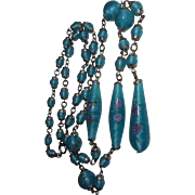 Blue Czech Lampwork Glass Beaded Necklace