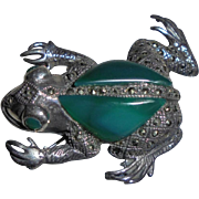 Adorable Large Sterling & Chrysoprase & Marcasite Figural Brooch Silver