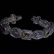 Dazzling Sterling Silver Marcasite & Multi Gemstone Sliding Charm Bracelet