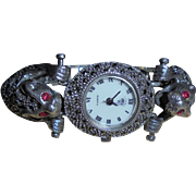 Double Jaguar Ruby Eyes Sterling Silver and Marcasite Figural Bracelet Vintage Watch by Diamond