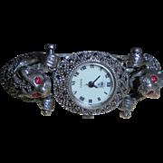 Double Jaguar Ruby Eyes Sterling Silver and Marcasite Figural Bracelet Vintage Watch by Diamond