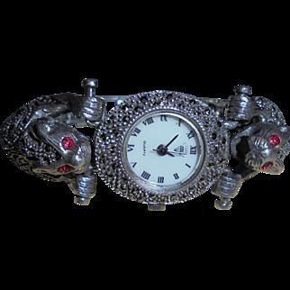 Sterling Double Jaguar Watch Ruby Eyes Silver and Marcasite Figural Bracelet Vintage Wristwatch by Diamond