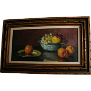 """32"""" Original Jean Cordain Fruit Still Life Oil Painting in Carved Wood Frame French Artist"""