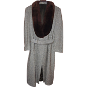Mens Yves Saint Laurent Paris Vintage Tweed Coat with Brown Fur Collar Size size 42 Reg