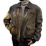 Rare Womens Aviator Vintage Leather Jacket by The Flight Club Bomber Pilot's Style with Patches XL