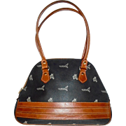 Equestrian Spanish Designer Coated Canvas and Camel Leather Trim Handbag Horse Theme Vintage Beauty!