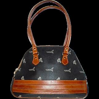 Equestrian Spanish Designer Coated Canvas and Camel Leather Trim Handbag Horse Theme Vintage Beauty!