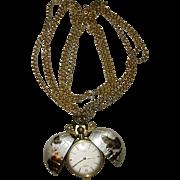 Rare Globe Swiss Pocket Watch by Medana XTensa on Chain Pendant Necklace Vintage Timepiece