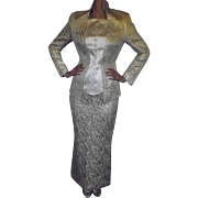 Thierry Mugler 1982 Amazing Gold & Ivory Couture Fitted Evening Jacket & Floor Length Skirt Elegant and Gorgeous
