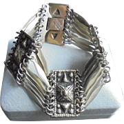 Stunning Taxco Mexico Chunky Sterling Silver Signed Paneled Link Bracelet