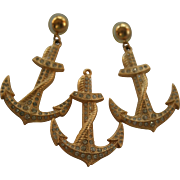 St John Couture Anchor Brooch and Earrings Set Nautical Chic Gold Tone with Rhinestones