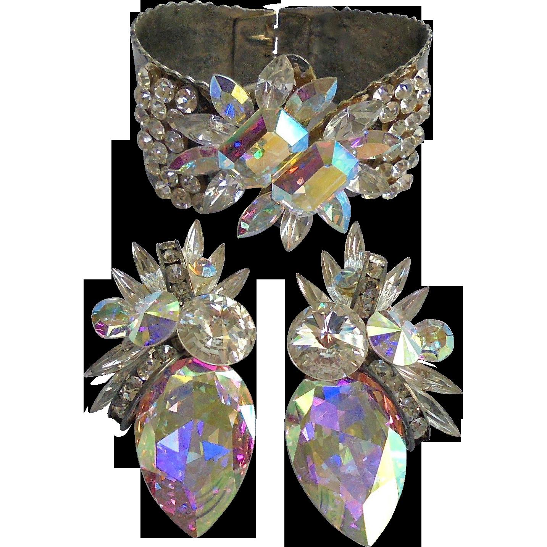Summer Spectacular Faceted Crystal & Rivoli Rhinestone Floral Clamper Cuff Bracelet & Earrings Set