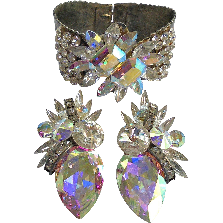 Spectacular Faceted Crystal & Rivoli Rhinestone Floral Clamper Cuff Bracelet & Earrings Set
