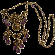 Goldette Etruscan Revival Bezel Set Amethyst Glass Draping Bib Necklace