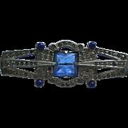 Art Deco Rhodium Plated Faux Sapphire Rhinestone Brooch