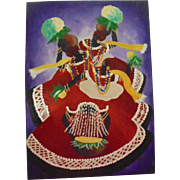 Vibrant Haitian Carnival Dancers Vintage Oil Painting Signed Illegibly