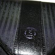 Gorgeous! Vintage Fendi Black Leather Stripe Envelope Clutch with Detachable Shoulder Strap
