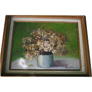 Floral Still Life in Vase Oil Painting on Canvas Artist Signed Mid Century