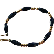 14K Gold Sodalite Beaded Bracelet