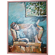 Portrait Carefree Young Boy Mid Century Oil Painting Signed