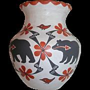 Signed Mildred Antonio Native American Acoma Pottery Olla Bear & Birds