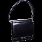 1960s Sleek Handbag Dofan France Black Leather With Silver Studs