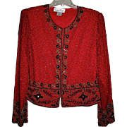 Bejeweled Red Bolero Jacket BY Laurence Kazar Paris New York Sz L