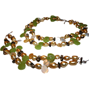 Baroque Freshwater Cultured Pearl MOP Glass Sterling Double Strand Necklace & Bracelet Set ~ Stunning