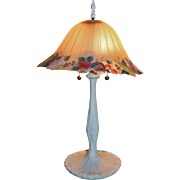 Boudoir Reverse Painted Lamp Artist Signed Glass Lamp Shade Fruit Theme