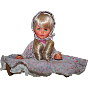 1960s FURGA Italy Platinum Doll with Eyelashes Lilac Bonnet & Dress