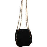 Gorgeous De Vecchi Hamilton Hodge Exquisite Vintage Black Soft Suede Gold Ball Long Chain Purse