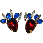 Hattie Carnegie Signed Poured Glass Earrings Red Blue & White / Clear