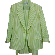 Via Condotti FL Summer Seer Sucker Green& White Size 14 Beautiful  Suit
