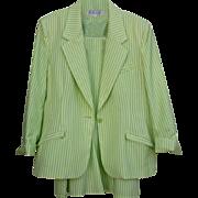 Spring Seer Sucker Green& White Size 14 Beautiful Spring Suit Via Condotti FL