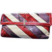 Spring! Snakeskin Clutch Burgundy, Purple and Tan by Caprice