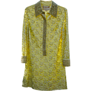 1960s Bejeweled Yellow Lace Party Dress Stunning!