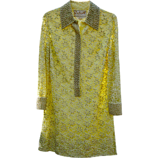 Spring 1960s Bejeweled Yellow Lace Party Dress Vintage Sz 12 by Colart