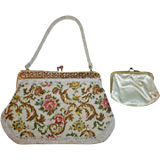 Beautiful Contrasting Embroidered and Beaded Vintage White Floral Evening Bag with Gold Frame