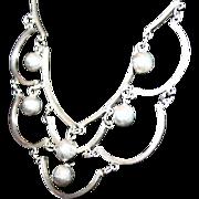 Taxco Heavy 30 Grams 925 Sterling Festoon Bib Necklace Modernist Mid 20th Century